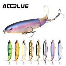 ALLBLUE 2018 NEW Whopper Plopper Fishing Lure 90MM 13g Topwater Hard Bait Flexible Soft Plastic Tail Fishing Bait Wobbler WP90(China)