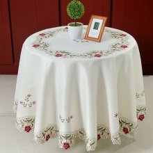 New Hot Sale Elegant Round Floral Embroidery Tablecloths Kitchen Embroidered Decoration Home Dining Table Cloth Cover Overlays