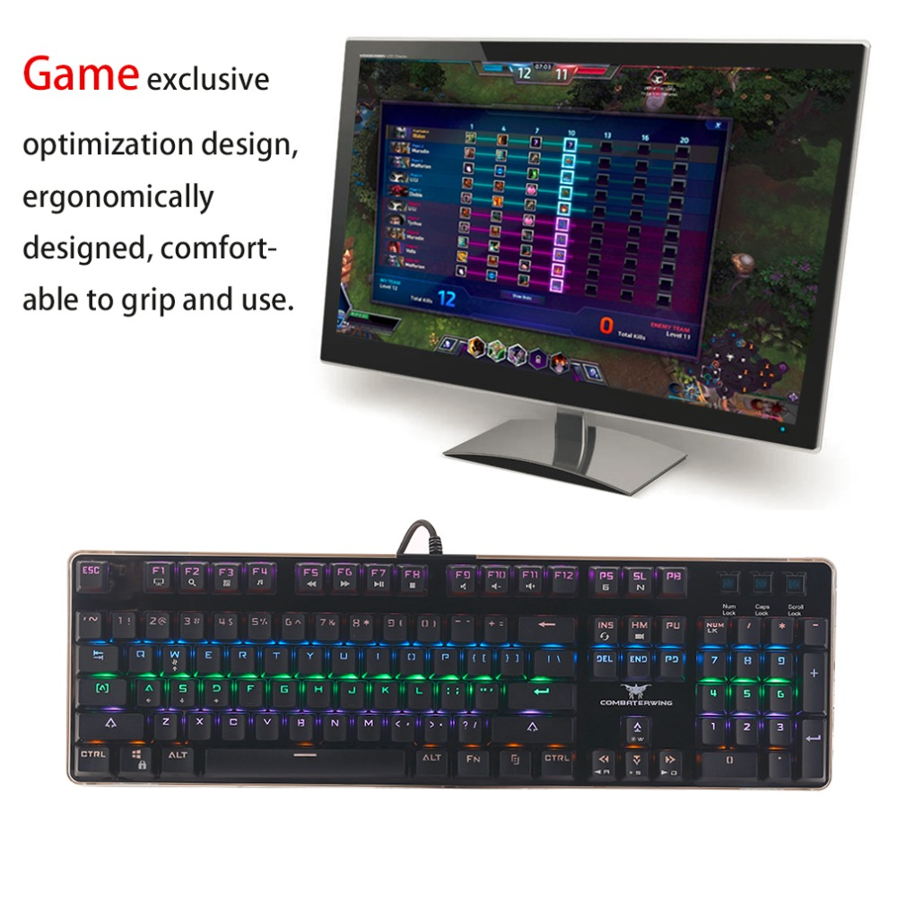 T10 104 Keys USB Wired Gaming Keyboard Ergonomic Design Mechanical Feel Office Home Gamer Keyboard For PC Computer