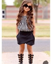 2015 New Summer wear Girls Casual TOPS + Short Clothing Set Suit Girls Clothe Fashion wear(China)