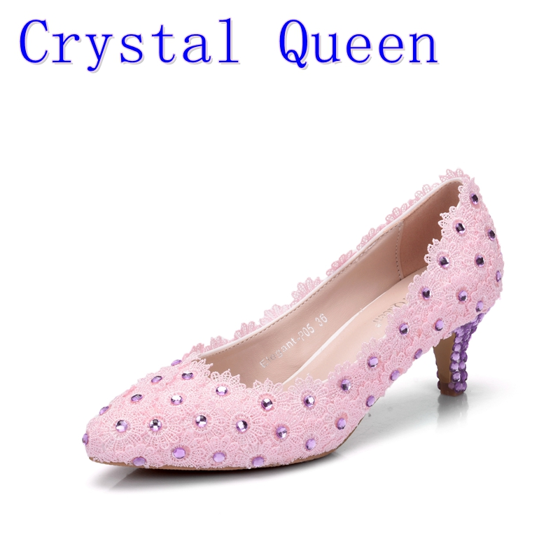 Crystal Queen Pumps Women Pink Fine Sequins Lace Flower Bride Wedding Shoes Pointed Shoes High Heels Purple Crystal Dress Shoes<br>