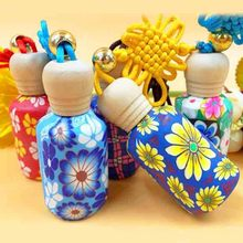 15ml Colorful Flower Perfume Bottle with Wood Lids Chinese Knot Decor Fragrance Oil Pendant Valentines Gift for Girlfriend 10pcs(China)