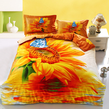 Yellow Sunflower and Blue Butterfly 3D Printed Bedding Set 4pcs Queen Size Duvet Cover Flat Sheet with 2 Pillowcases Bed Linen