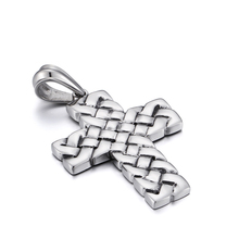 XMAS Gifts Men's Stainless Steel 38*50mm Vintage cross Pendant Necklace NO chain(China)