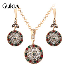 New Brand Luxury Unique Jewelry Sets India Women's Necklace Vintage Austrian Crystal Earrings And Necklaces wholesale / Retail
