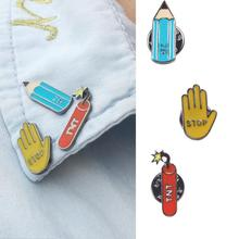 XT088 New  individuality  Cute Stop Hand TNT Pencil Metal Brooch Pins Button Pins Girl  Bag Decoration Gift Wholesale