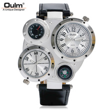 OULM 2017 Military Quartz Watch Men's Deco Compass Stylish Army Leather Strap Sport Modern Double Movement Big Wrist Watches(China)