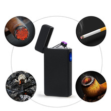 Plasma Cross Double Arc Cigar Electronic Cigarette Lighter USB Windproof Tobacco Pipe Lighter Smoke Gifts -6008b(China)