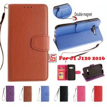 PU Leather Flip Wallet Phone Cell Mobile Case capa Cover For Samsung Sansung Sumsang Galaxy J1 2016 J 120 J120 Red Black Brown
