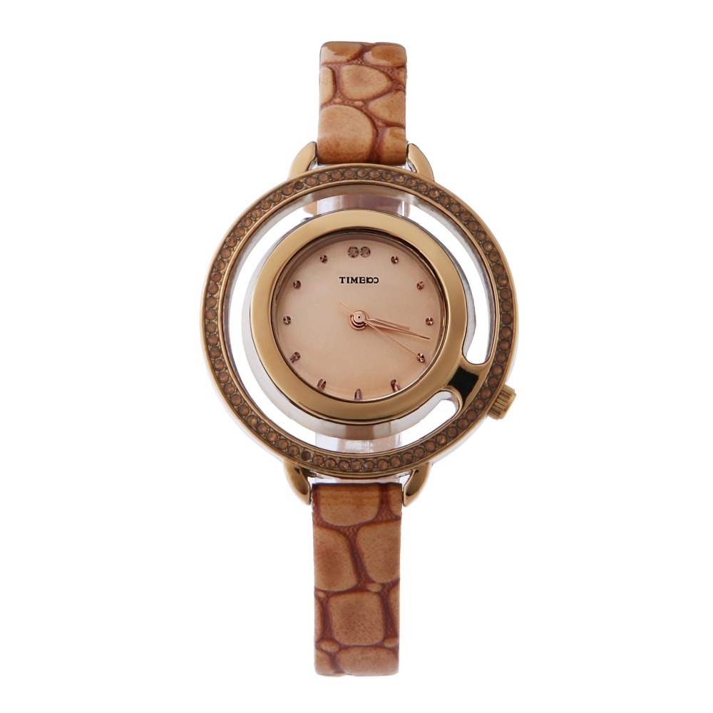 TIME100 Women Watches Quartz  Brown Snakeskin Leather Strap Diamond Skeleton Watch Big Dial Ladies Dress Casual Wrist Watch<br>