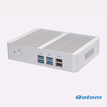 Hot Fanless nettop pc Qotom-M150S 4G ram NO SSD NO HDD 300M WIFI celeron N3150 up to 2.08Ghz 6*USB quad core Dual lan mini pc(China)