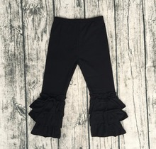 Baby Fashion Clothes Online Hot Sale Baby Girl Black Icing Long Pant Children Triple Ruffle Pant Cheap Wholesale(China)