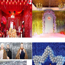 245*92cm Foil Party Door Curtain Tinsel Shimmer Birthday Wedding Decorations Wedding Background Party Photo Booth Props EJ602693
