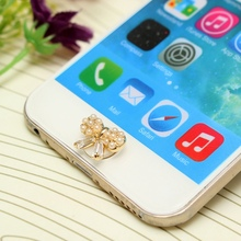 1PCs Stylish Crystal Diamond 3D Pearl Bow Pattern Decoration Home Button Stickers For iPhone 4/5/6s/iPad/iPod Touch Wholesale