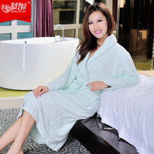 Hilift bathrobes toweled bamboo fibre robe male women's sleepwear lovers thickening bathrobe(China)