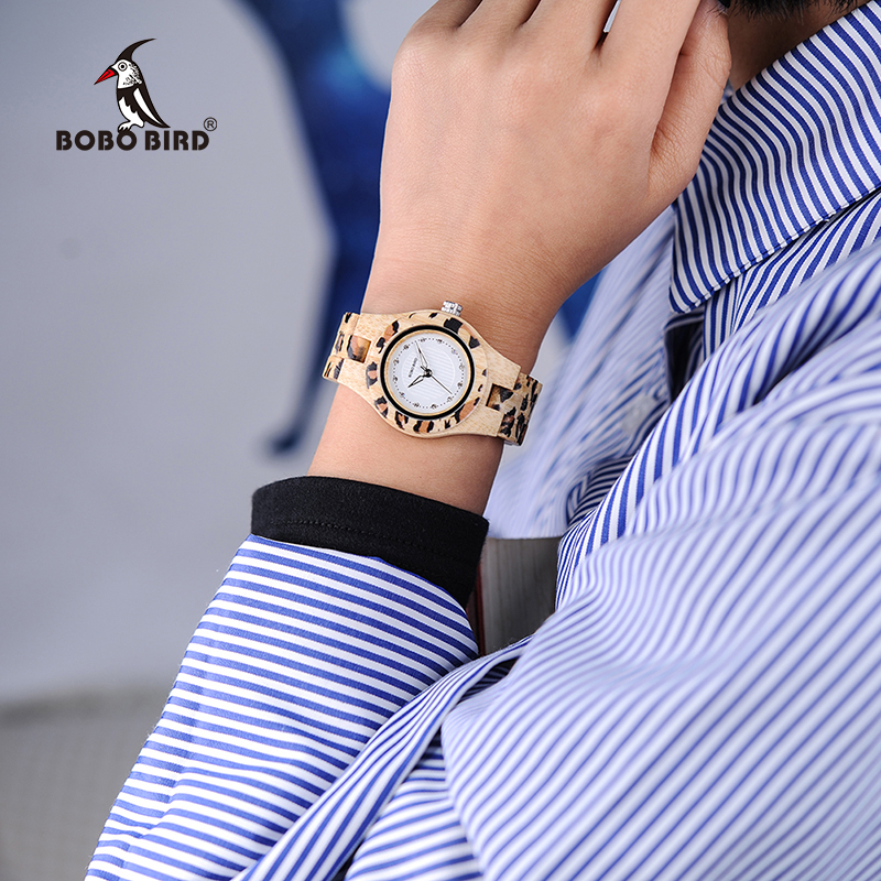 BOBO BIRD P26 Fashion Leopard Print Women Watches Bamboo Texture Rhinestone Wristwatch in Wooden Box<br>
