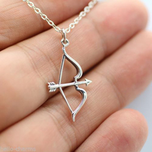 Vintage Silver Plated Arrow Bow Pendants Necklace Shellhard Hollow Choker Long Chain Necklaces For Womens Girls Fashion Jewelry(China)