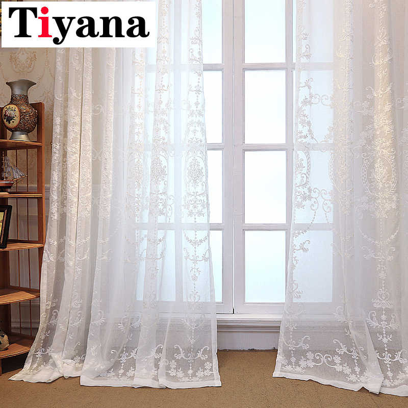 Europe Luxury Sheer Curtains For Living Room Kitchen Curtains Embroidered Geometric Window Drapes White Window Yarn P014D4