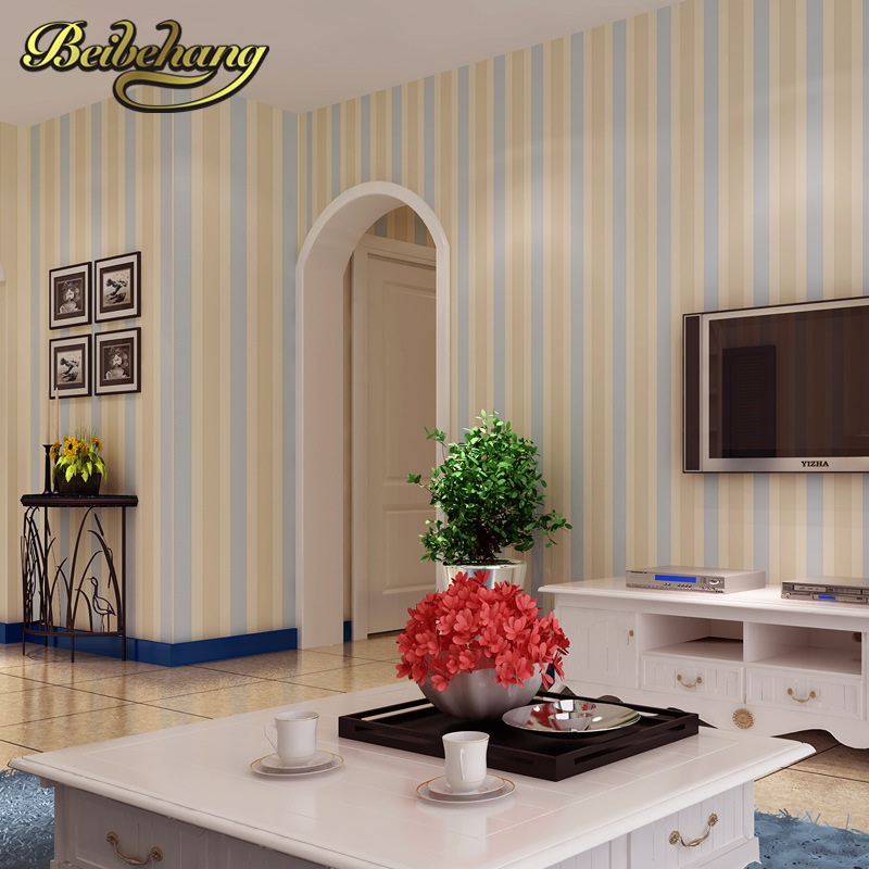 beibehang papel de parede living room bedroom backdrop British style red and blue vertical striped wallpaper warm environment<br>