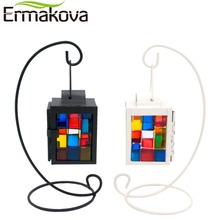 ERMAKOVA Vintage Metal Mosaic Glass European Candlestick Candle Lantern Holder Hanging Lantern with Candle Stand Wedding Decor(China)