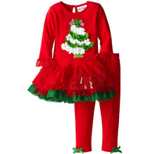 New 2016 Kids brand Children's boutique outfits sets autumn Christmas Clothing Santa for girls ruffle pants legging sets