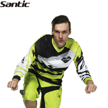 SANTIC Riding Bike Bicycle Long T-Shirts Reynold Autumn Breathable Men's Cycling Long Jerseys Bicycle Shirts Clothes Black-Green