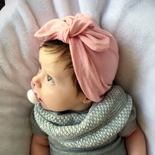 Solid Baby Turban Hat with Bow Boys Girls Soft Cotton Beanies Cap Rabbit Ear Jersey Knit Baby Hat Infant Gift SW168