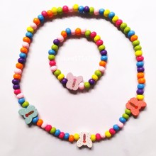 12 Set /lot New Elastic Rope Children Wood Beads Necklace Bracelet Set Cute Bee Combination Environmental Beautiful Gifts(China)