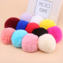 6cm Fluffy Rabbit Fur Pom Pom Ball Keychain Women Trinket Bag Phone Key Chain Ring Car Key Holder floating Charm DIY Accessories