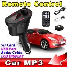 2017 Universal Digital Car Kit FM Transmitter MP3 Player Wireless Modulator USB SD MMC LCD With RF Remote 3.5MM Aduio Cable