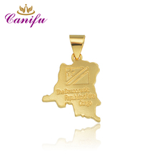 Canifu New arrival Cheapest Gold Color Pendant Congo Map Shape Pendants great gift for girl  factory price wholesale Hot