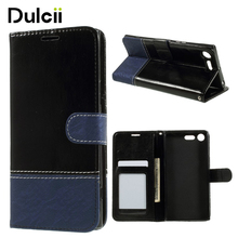 DULCII for Sony Xperia XZ Premium Cases Contrast Color PU Leather Wallet Mobile Casing for Sony Xperia X Z Premium Cover Coque