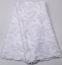 Fashionable 2017 Cotton Nigeria Clothes White Lace Fabric African Swiss Voile Lace In Switzerland High Quality QF328B-2