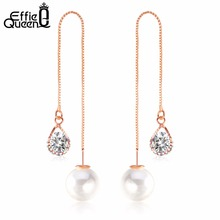 Effie Queen Rose Gold-color High Quality Imitation Pearl Earrings Lovely Fashion Long Drops Earrings Jewelry Wholesale DDE27