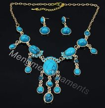 Gold Plated Oval Shape Rhinestone Turquoise Jewelry Set Alloy Necklace and Drop Earring Jewellery