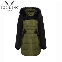 BOSIDENG women's clothing winter down coat long down coat fur collar hooded big pocket thick outwear clearance sale B1401252
