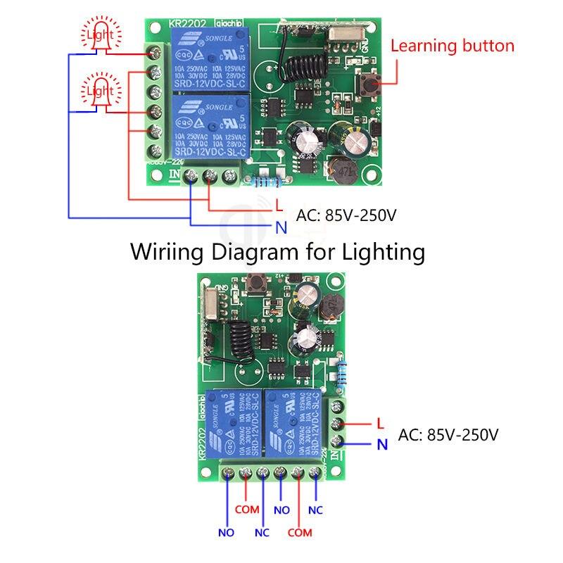 110V 220V 2 Channel Wireless Remote Control Switch Receiver Module Diagram
