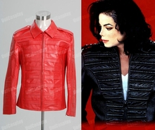 Michael Jackson Jacket Man in the Mirror PU Leather Jackets Cosplay Costume Red Halloween Coat Man Winter Jacket