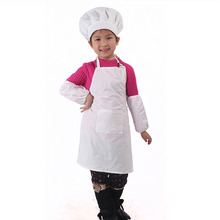 Cotton White Kids Apron and Chef Hat Child Cooking Baby Apron Avental de Cozinha Divertido Pinafore Apron(China)