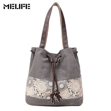 MELIFE Women Canvas Shoulder Bag Casual Fashion Spanish Crossbody Bags String Floral Shopping Handbags Female Lace Printing bag