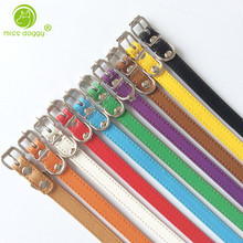 5pcs Wholesale Pu Leather Cat Puppy Dog Collar Brand New Small Pet Products 10 colors Necklace for 7.8-10""