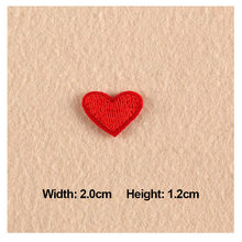 1PC Patches For Clothing Embroidery Small Red Heart 2.0x1.2cm Patches For Apparel Bags DIY Accessories