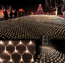 Kmashi 4Mx6M 672 Leds EU220V LED Fishing Net Mesh Fairy String Net Lights Ceiling for Christmas Party Wedding Outdoor Decoration