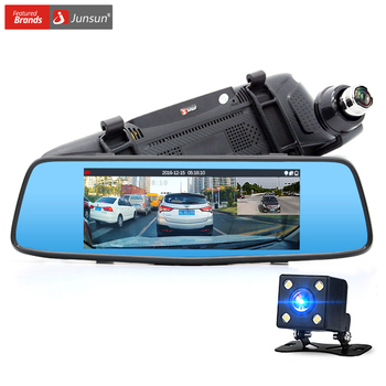 "Junsun 7 ""Cámara del DVR del coche Del Espejo con LDWS ADAS Super Night Vision Full HD 1080 P de Doble Lente de Espejo retrovisor"