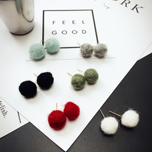 2017 New Korea Fashion Simple earrings Cute Faux Woolen Ball Stud Earrings Candy Color Fashion Ear Studs Jewelry for Women