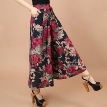 Plus size Summer Women Print Flower Pattern Wide Leg Loose Linen Dress Pants Female Casual Skirt Trousers Capris Culottes N597(China)