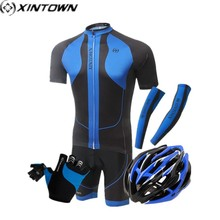 XINTOWN Dragon Elephant Men Cycling Set Ropa Ciclismo Outdoor Sports Cycling Helmet gloves Cuff Breathable Quick Dry Polyester