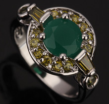 Fascinating Peridot Green Stones Solitaire Fashion Women's Party Jewelrys 925 Sterling Silver Rings Size 6 7 8 9 S0535