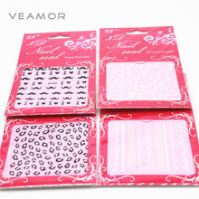 4pcs/lot Nail Art Stickers 3D Transfer foils leopard print lace Design Manicure Tips Nail Sticker Decal Decoration Set(China)