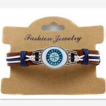 New Fashion Seattle Mariners Baseball Team Leather Bracelet Adjustable Leather Cuff Bracelet For Men and Women Fans 10pcs/lot